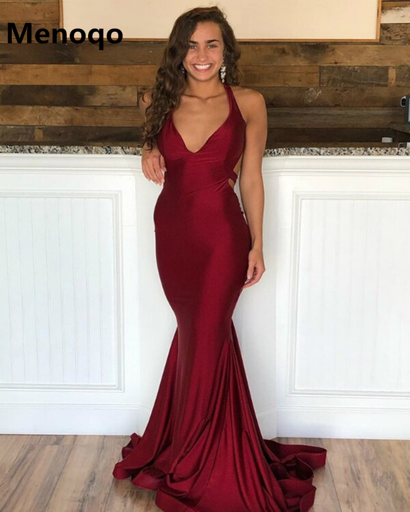 Burgundy Evening Gowns Satin V Neck Mermaid Women Evening Dresses Long Open Back Floor Length Prom Dresses Special Occasion