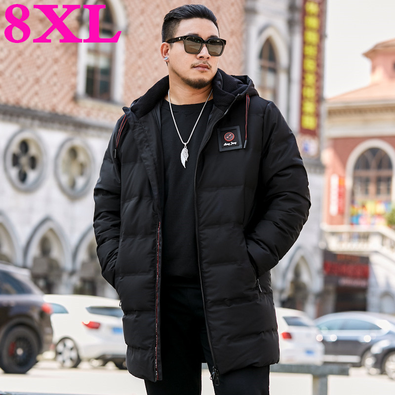 2020 Plus Size 8XL 7XL Winter New Men's Down Jacket Fashion Casual Hooded Thick Warm Long Coat  Jacket