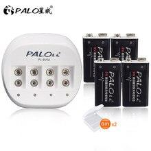 Palo 4 Stuks 9V 6F22 600Mah Lithium Li-Ion Li Ion Liion Oplaadbare Batterij Met Intelligente Snel Opladen Lader voor 9V Batterij