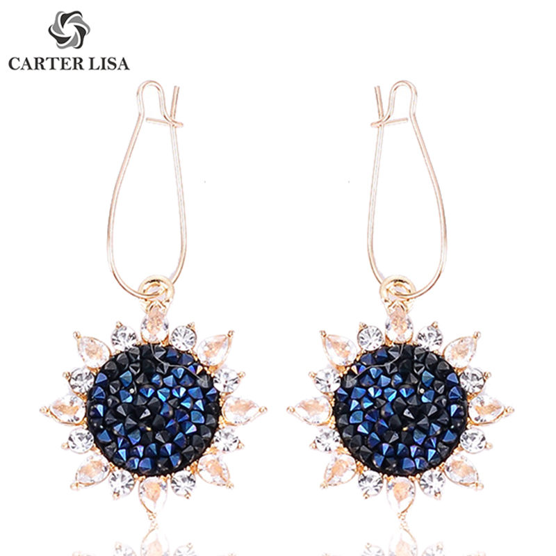 CARTER LISA Vintage Crystal Sunflower Floral Long Drop Earrings For Women Girl Ethnic Fashion Pirecing Jewelry Party Gifts 2019
