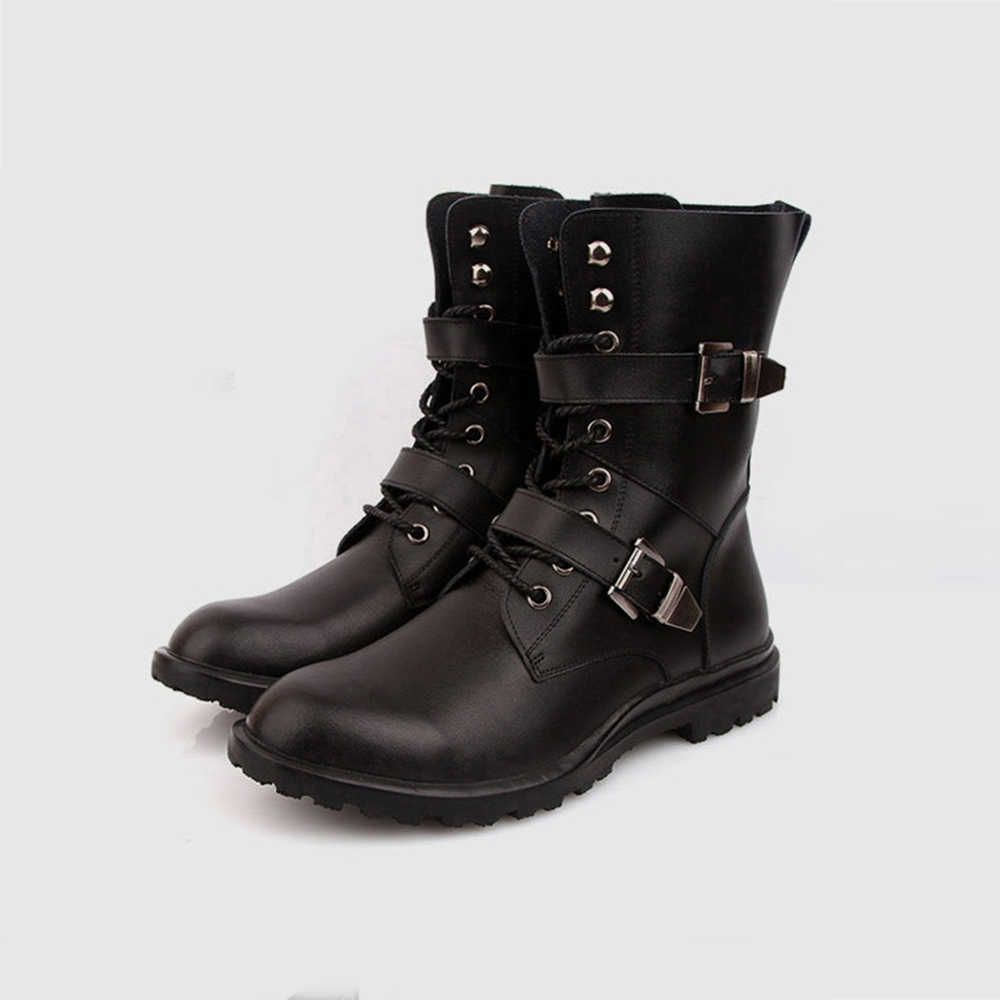 Mode Mannen Lente Herfst Motorfiets Martin Laarzen Britse Stijl Gothic Punk Dikke Warme Zwarte Schoenen Plus Size