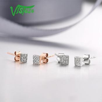 585 Rose/White/Gold & Sparkling Diamond Earrings 4
