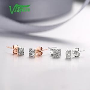 Image 5 - VISTOSO Gold Ohrringe Für Frauen 14 K 585 Rose Gold Funkelnden Diamant Dainty Runde Cirle Stud Ohrringe Mode Trendy Feine schmuck