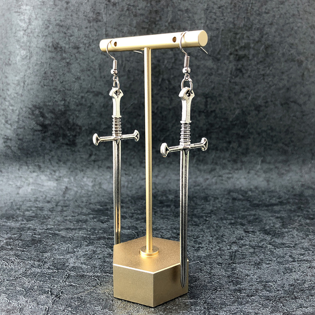 Gothic Silver Color Sword Long Earrings  6
