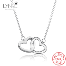 Elegant Ladies Necklace Silver Plated Collarbone Necklace Chain Double Love-heart Pendant Necklace For Women Chian Jewelry fresh water pearl pendant necklace for women elegant round hollow out necklace silver lady s collarbone chain wholesale