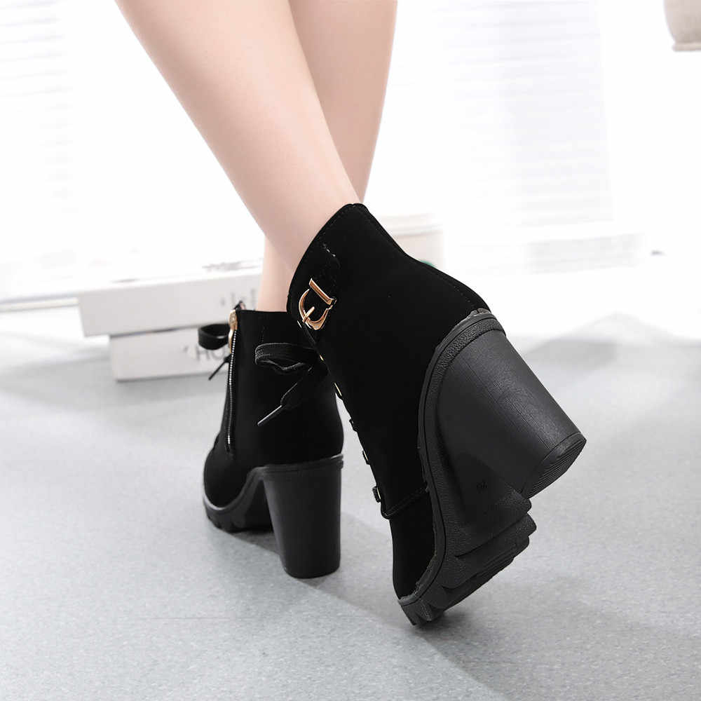 2019 ฤดูใบไม้ร่วงฤดูใบไม้ร่วงผู้หญิงแฟชั่นส้นสูง Lace Up ข้อเท้ารองเท้าผู้หญิง Buckle รองเท้า Boot ฤดูหนาวรองเท้าบู๊ทหนังผู้หญิง botas