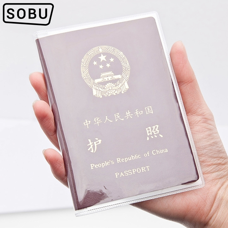 1pcs Waterproof Transparent Passport Holder Card Holder PVC Waterproof Travel Passport Cover Credit Card Holder Aluminium H081