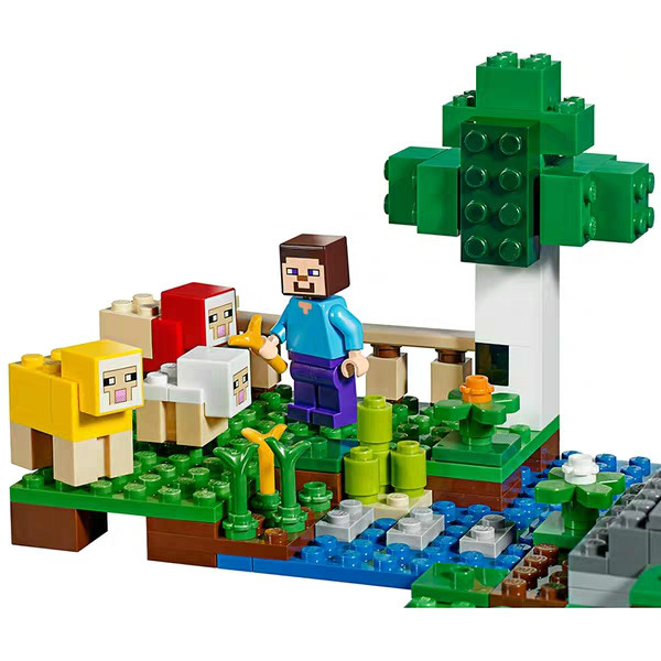 2019 My World Assembled Bricks The Wool Farm Compatible Legoing Minecing 21153 Building Blocks Toys for Children Christmas Gift 3