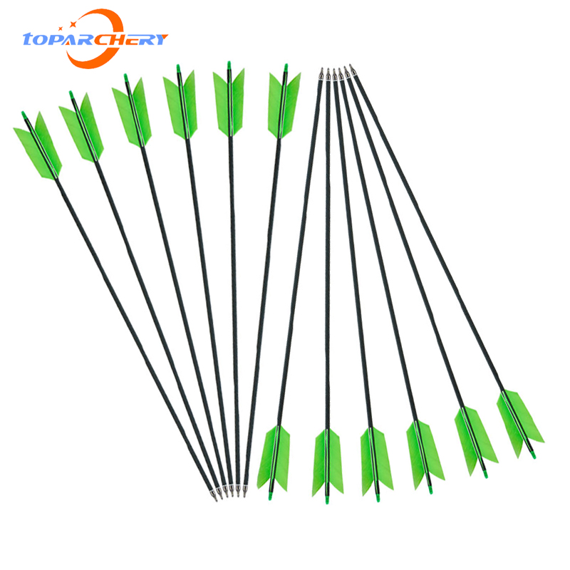 6/12pcs 31.5'' Archery Carbon Arrows 4 Turkey Feathers Spine 500 for Recurve Compound Bow Outdoor Hunting Shooting Accessories
