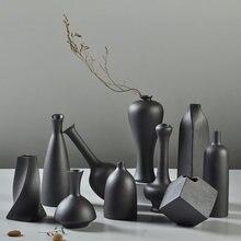 Zen керамическая ваза креативный чёрный Настольный для цветочной
