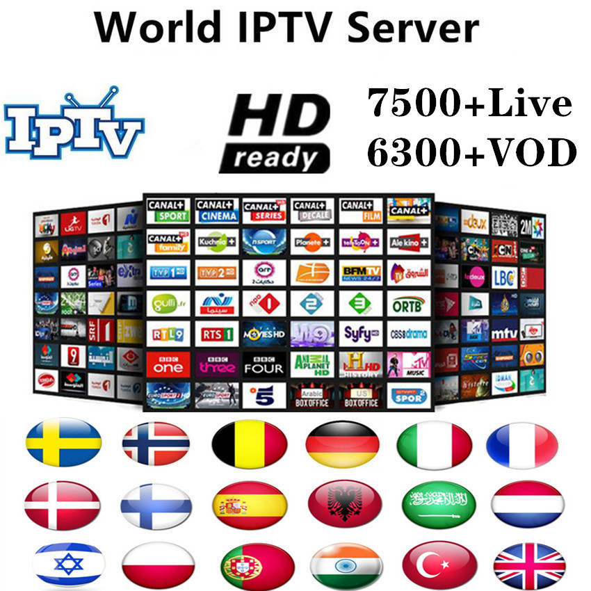 World 7500+Live Europe IPTV French Spain Dutch Arab Portugal UK IPTV Subscription Free Test Sports Android TV Box Smart TV PC