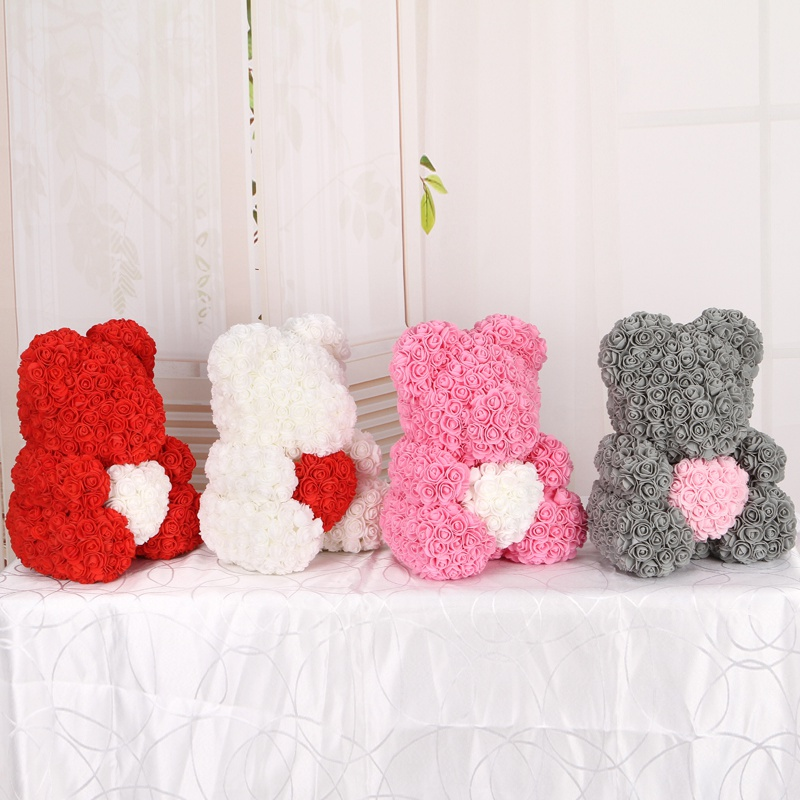 50/100/200 Pieces Teddy Bear of Roses Artificial Flowers For Wedding Decoration Indoor 4