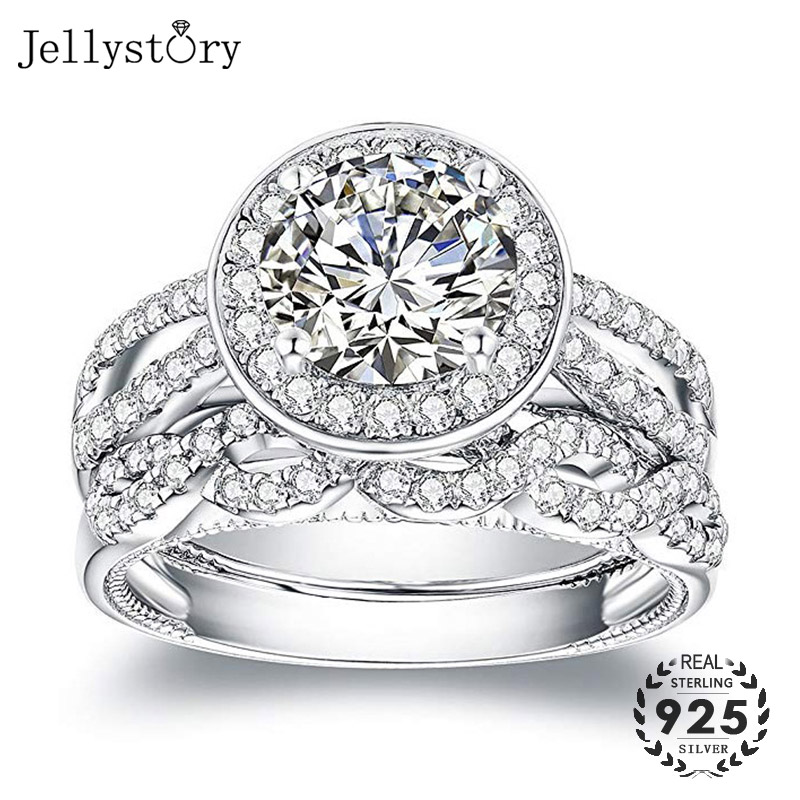 Jellystory Vintage Lover <font><b>Ring</b></font> <font><b>925</b></font> <font><b>Silver</b></font> Jewelry with 12mm Round Shaped Zircon Gemstone Couple <font><b>Rings</b></font> <font><b>for</b></font> Women <font><b>Men</b></font> Wedding Gifts image