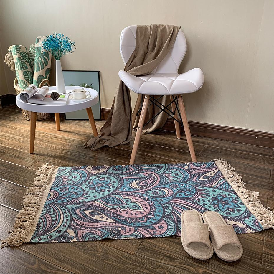 2020New Retro Bohemian Hand Woven Cotton Linen Carpet Rug  Bedside Rug Geometric Floor Mat Living Room Bedroom Carpet Home Decor