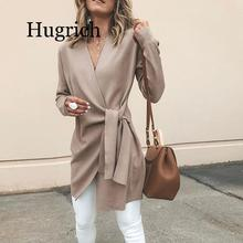 2020 Spring Women Fashion Elegant Asymmetrical V Neck Irregular Hem Winter Jacket Solid Wrapped Self-Belted Long Sleeve Coat belted cuff mixed print stepped hem blouse