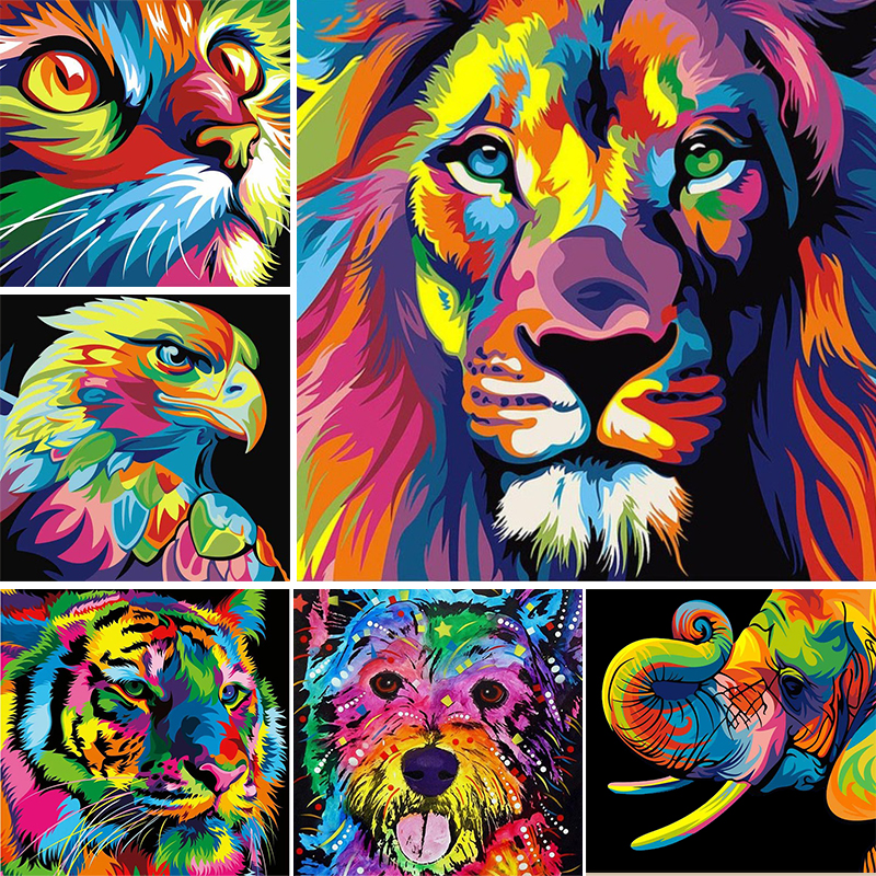DIY 5D Diamond Painting Colorful Animal Set Lion Cat Cross stitch Kit Mosaic Art Picture of Rhinestones Diamond Embroidery Decor 1