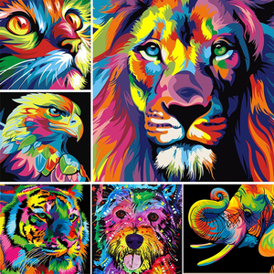 DIY 5D Diamond Painting Full Square Color Animal Lion Cat Cross stitch Mosaic Picture Rhinestones Diamond Embroidery Tiger Wolf(China)