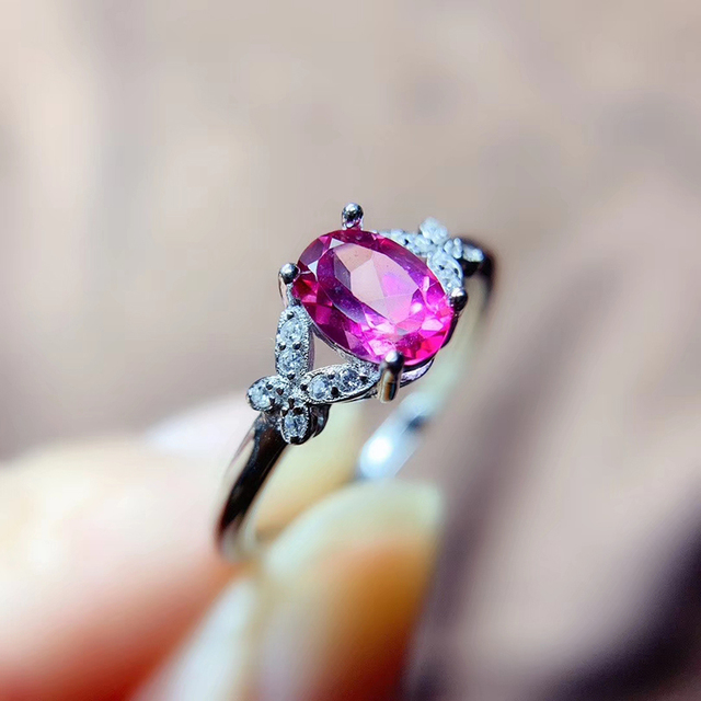 CoLife Jewelry 925 Silver Pink Topaz Ring 5mm*7mm Natural Topaz Silver Ring Fashion Silver Gemstone Ring for Daily Wear 1