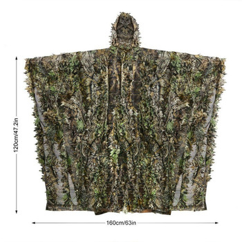3D Hunting Clothes Camouflage Ghillie Suit Jungle Cloak Poncho Bionic Leaves Dress Hooded Ghillie Suits for Sniper Photograph 6