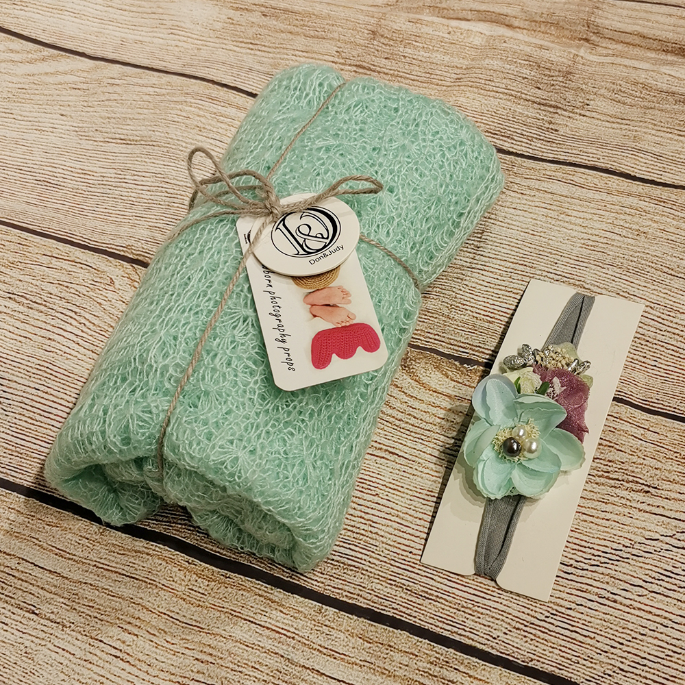 Don&Judy 150x40cm Mohair Stretch Knit Wrap with Matched Headband for Newborn Baby Photography Studio Prop Soft Wrap Baby Blanket