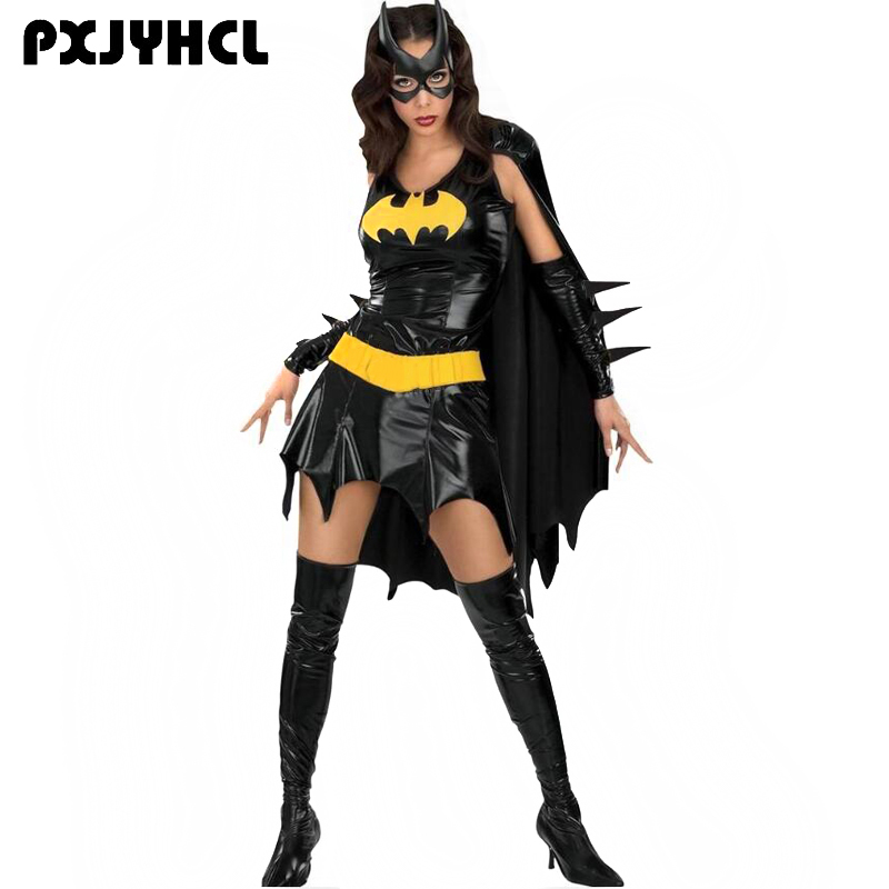 Halloween Batman Anime Cospaly Costume Adult Women Setin Dress With Cloak Mask For Scary Party Female Supder Hero Suit