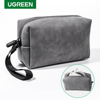 UGREEN-bolsa organizadora, funda de almacenaje de piel para auriculares con Cable, Cable USB, cargador de teléfonos móviles, bolsa de accesorios digitales para PC