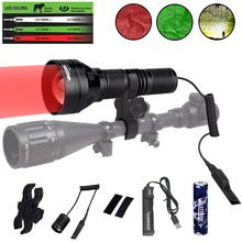 Zoomable LED Hunting Flashlight Green/Red/White 3 in 1 Tactical Torch Scope Rifle Mount Lantern with 3 Beam Head