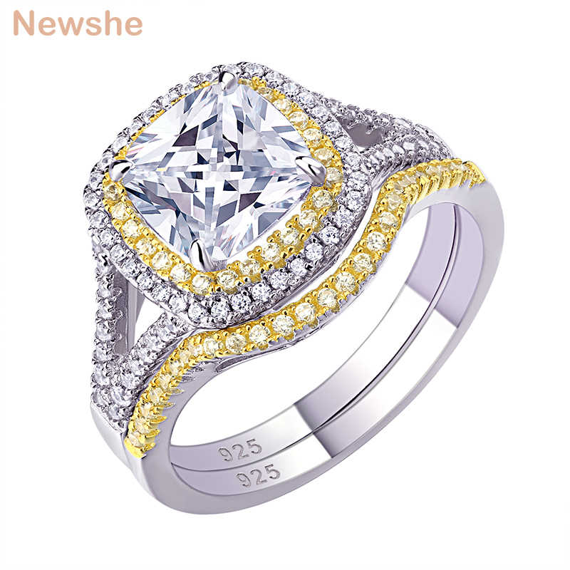 Newshe 925 Sterling Silver Halo Yellow Gold Color Engagement Ring Wedding Band Bridal Set For Women 1.8Ct Cushion Cut AAA Zircon
