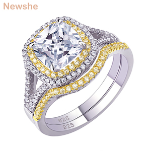 Image 1 - Newshe 925 Sterling Silver Halo Yellow Gold Color Engagement Ring Wedding Band Bridal Set For Women 1.8Ct Cushion Cut AAA Zircon