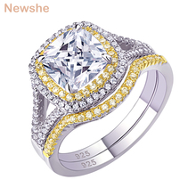 Newshe 925 Sterling Silver Halo żółty złoty kolor pierścionek zaręczynowy obrączka zestaw dla nowożeńców dla kobiet 1.8Ct poduszka Cut AAA cyrkon