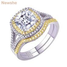 Newshe 925 prata esterlina auréola amarelo ouro cor anel de noivado casamento banda nupcial conjunto para as mulheres 1.8ct almofada corte aaa zircon
