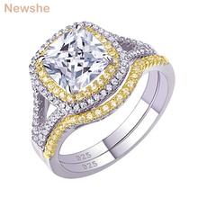 Newshe 925 فضة هالو الذهب الأصفر اللون خاتم الخطوبة الزفاف الفرقة طقم عروسة للنساء 1.8Ct أحجار بمقطع مشابه لشكل الوسائد AAA الزركون