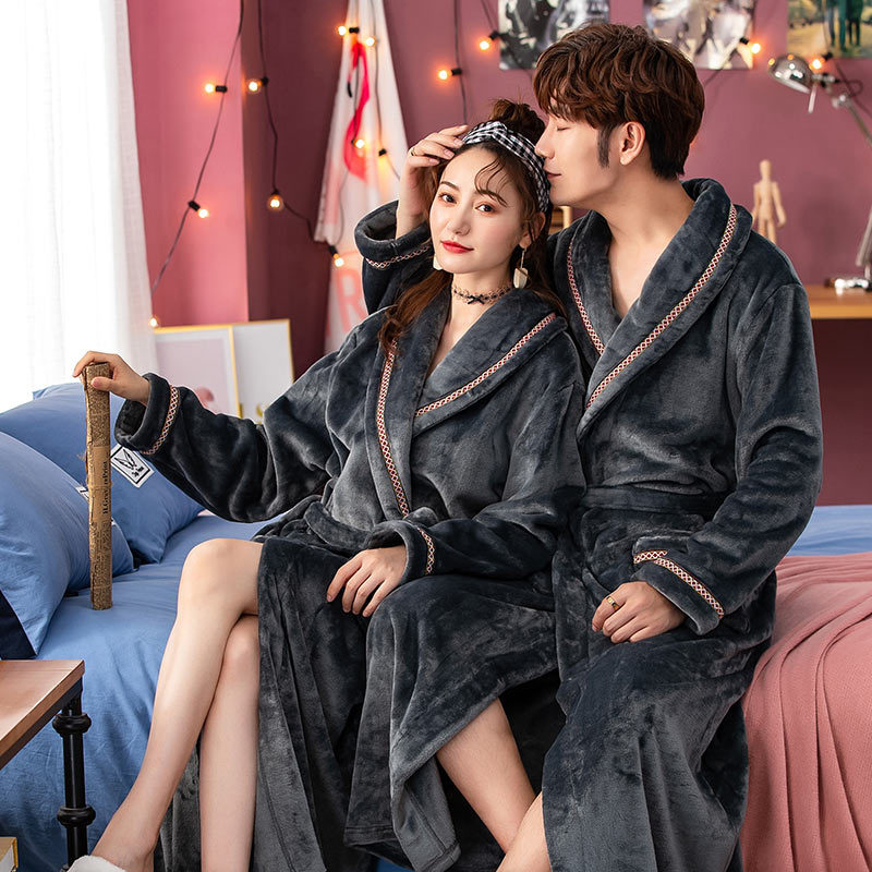 New Winter Thick Warm Female Coral Fleece V-Neck Kimono Robe Lovers Couple Nightgown Bath Gown Sleepwear Men Nightwear Size XXL