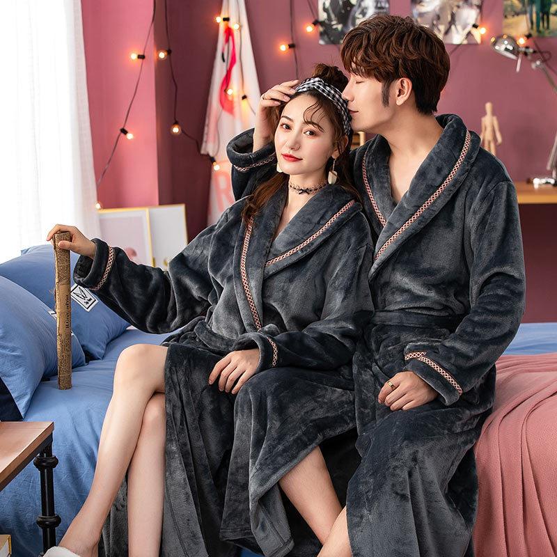 New Winter Thick Warm Female Coral Fleece V-Neck Kimono Robe Lovers Couple Nightgown Bath Gown Sleepwear Men Nightwear Size XXL