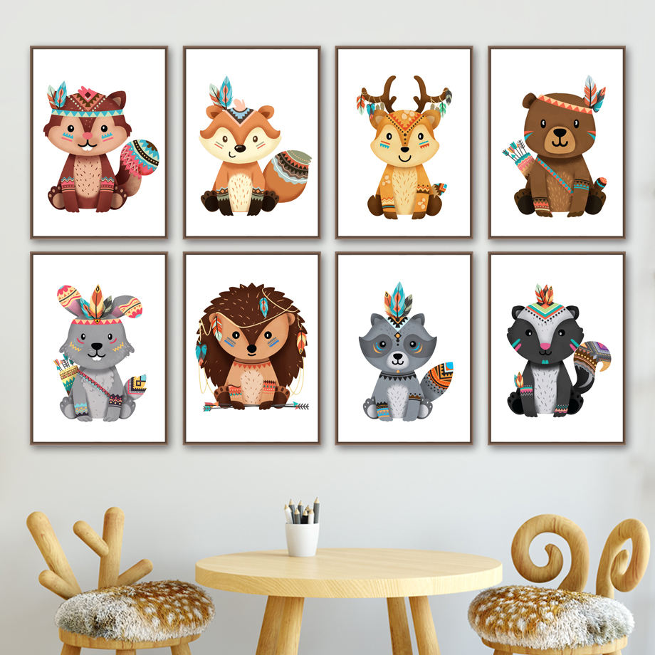Bear Deer Fox Rabbit Raccoon Nursery Wall Art Canvas Painting Nordic Posters And Prints Wall Pictures Girl Boy Kids Room Decor