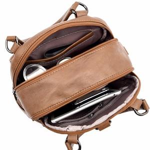Image 5 - Women Leather Backpacks High Quality Mochila Feminina  Multifunction Backpack For Girls Solid Vintage Bagpack Ladies Back Pack