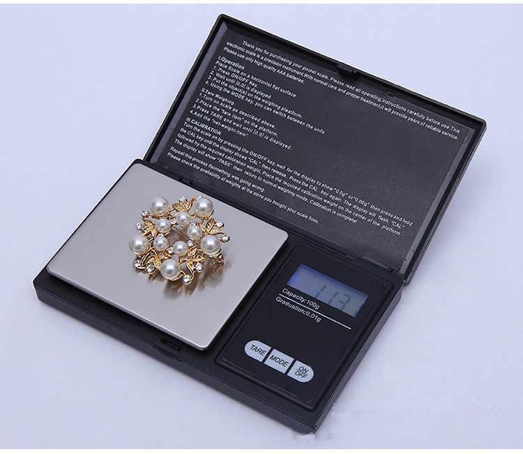 1 Uds Digital escala de 100/200/300/500/1000g 0,01/0,1g precisión pantalla LCD Escala de bolsillo gramos de peso para la cocina de drogas