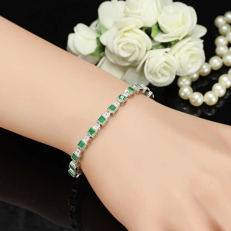 PANSYSEN-argent Sterling 100% véritable 925, pierres précieuses émeraude, chaîne de luxe Bracelets pour femme, bijou fin, cadeau