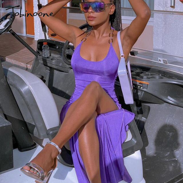 Tobinoone Solid Ruched Drawstring Summer Dress Women Sleeveless Backless Sexy Club Party Dresses Side Split Midi Vestidos 2021 5