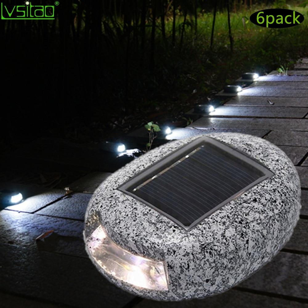 6 pièces résine pierre forme solaire lumière LED pierre lumière imperméable à l'eau extérieure sentier lumière galet maison jardin lumière décoration