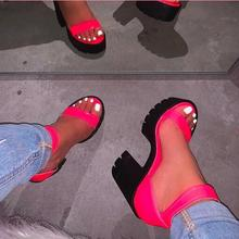 Neon Rosy Women Outdoor Wild Sandals Candy Color Slipper Summer High-heeled Fash