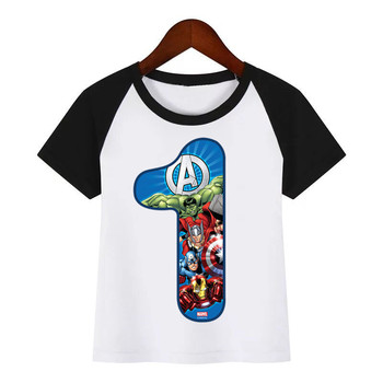 Children Happy Birthday Number 1-9 Avengers Cartoon Diy Print T Shirt Children Summer T-shirt Kids Fashion Clothing T Shirt