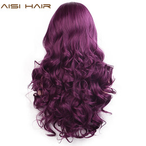 Image 3 - AISI HAIR Purple Long Wavy Wig Synthetic Lace Front Wigs for Black Women Natural Part Heat Resistant Fiber Wig