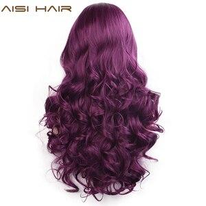 Image 3 - AISI saç siyah uzun dalgalı peruk sentetik dantel ön peruk siyah kadınlar için doğal kısmı ısıya dayanıklı iplik peruk
