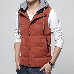 Image 4 - High Quality Men Casual Vest Winter Coat Hat Detachable Men Waistcoat Sleeveless Jacket Solid Outwear Vest Men 4 Colors