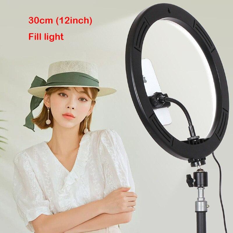 12inch 30cm Photography Ring Light Mini LED Selfie Lamp Studio Photography Photo Lighting Live video Fill Light 160MM Stand
