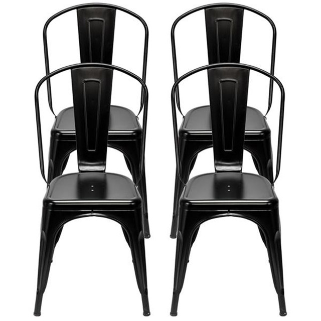 4pcs Industrial Style Iron Sheet Chair Black for Restaurants Pubs Cafes And Multiplayer Gatherings Dining chair 2