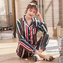 2019 Brand Silk Pajamas Set Striped Printed Faux Silk Women Sleepwear Pajama Satin Long Sleeves Spring Summer SleepWear Pajamas autumn summer men s silk pajamas thin short sleeves sleepwear luxury pajama set loungewear l xl xxl xxxl