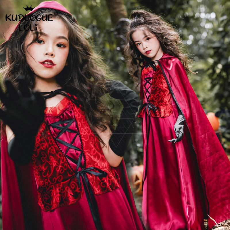 Costume Vampire Halloween For Kids Little Girls Witch Cosplay Dress Shawl Hooded Cloak Scary Fancy Party Dress Children Carnival