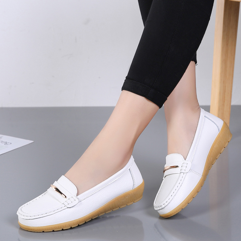 2020 New Genuine Leather Shoes Woman Slip On Women Flats Moccasins Women's  Loafers Spring Autumn Mother Shoe Big Size 35 44 Women's Flats  - AliExpress